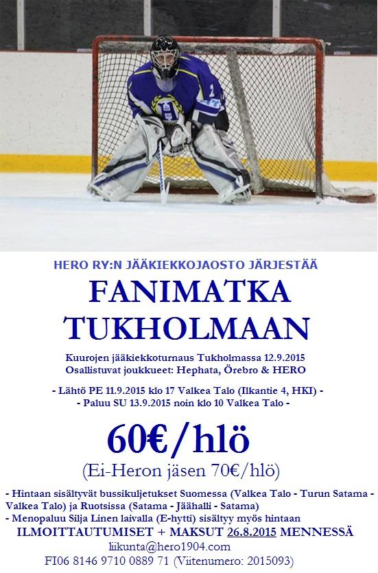 HERO ry:n jääkiekkojaosto järjestää fanimatka Tukholmaan 12.9.