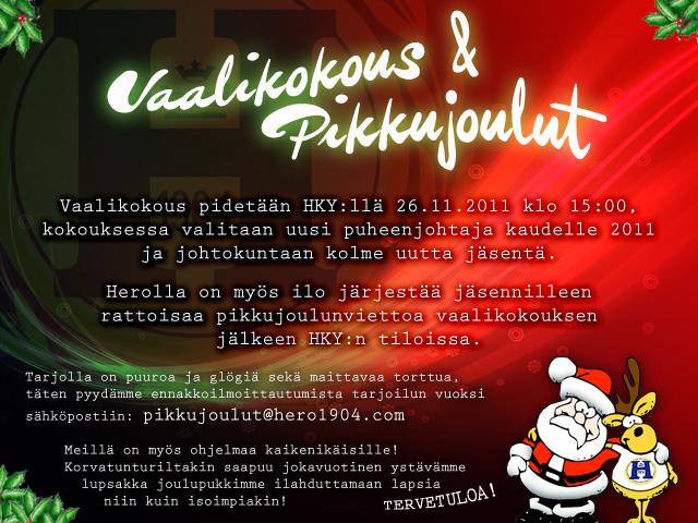 HERO ry:n vaalikokous ja pikkujoulut 26.11.