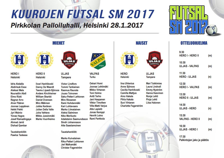 FUTSAL SM2017 pelaajat & otteluohjelma